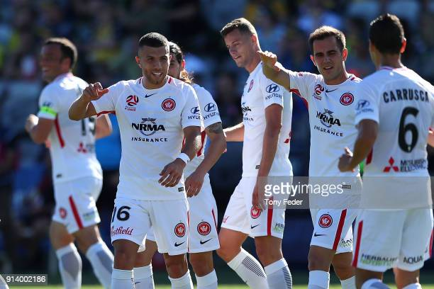 Jaushua Sotirio of the Wanderers celebrates with team mates during the round 19 A-League match between the Central Coast Mariners and the Western...