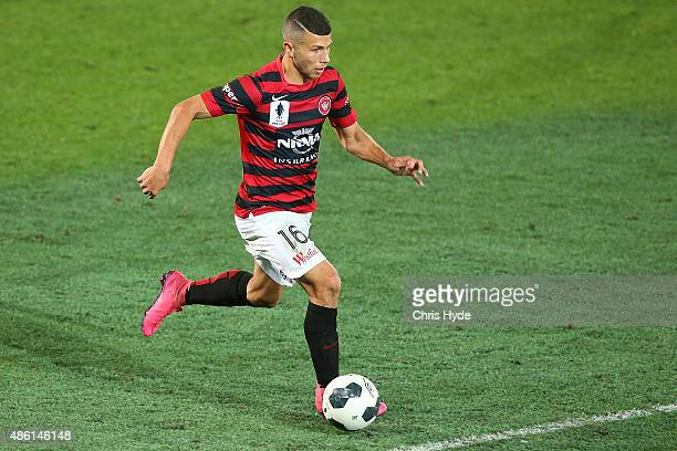 Jaushua Sotirio of the Wanderers controls the ball during the FFA Cup Round of 16 match between Palm Beach Sharks and Western Sydney Wanderers at...
