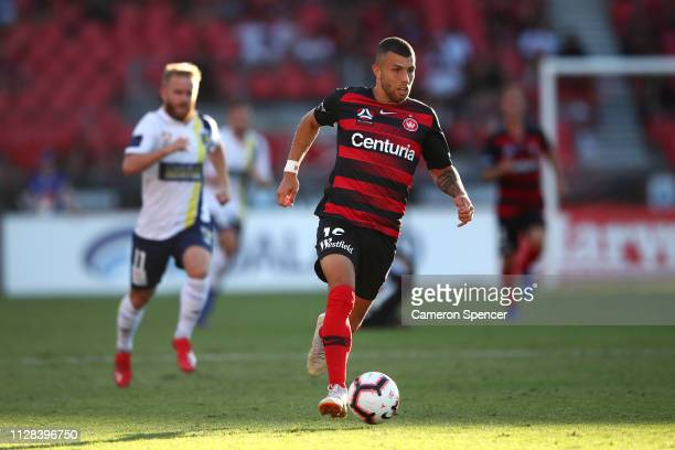 Jaushua Sotirio of the Wanderers dribbles the ball during the round 18 ALeague match between the Western Sydney Wanderers and the Central Coast...