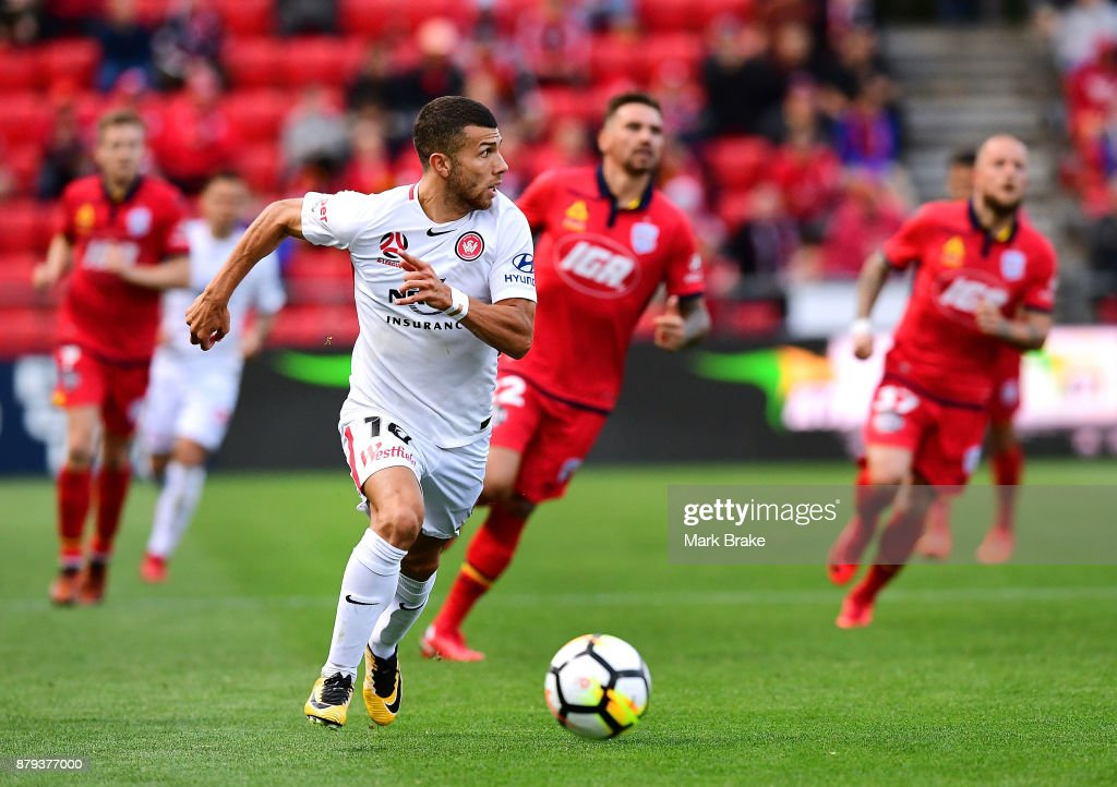 Jaushua Sotirio of Western Sydney Wanderers during the round eight A-League match between Adelaide United and the Western Sydney Wanderers at Coopers Stadium on November 26, 2017 in Adelaide, Australia.