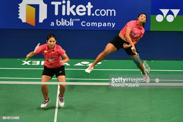 Jauza Fadhila Sugiarto and Ribka Sugiarto of Indonesia compete against Xia Yuting and Zhang Shuxian of China during Women's Doubles Semifinal match...