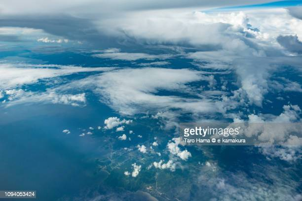 Java sea and West Kalimantan in the island of Borneo daytime aerial view from airplane