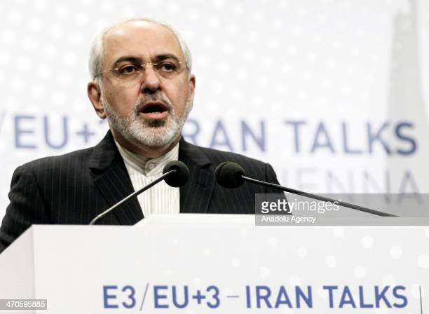 Javad Mohammad Zarif, Iranian Foreign Minister and Catherine Asthon , Vice President of the European Commission hold a joint press conference during...