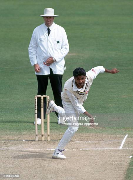 Javagal Srinath bowling for India during the 1st Test match between England and India at Edgbaston Birmingham 7th June 1996 The umpire is Darrell Hair