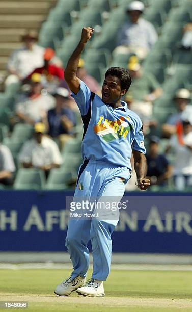 Javagal Srinath of India celebrates trapping Aravinda De Silva of Sri Lanka for lbw during the ICC Cricket World Cup 2003 Super Sixes match between...
