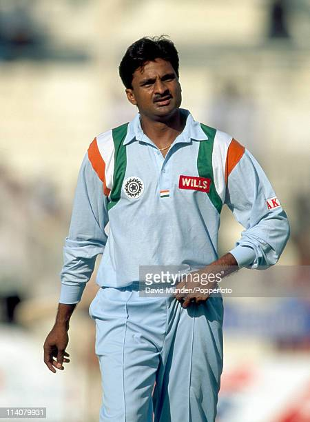 Javagal Srinath of India during a match at the Sharjah Stadium in the United Arab Emirates circa October 1997