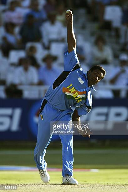 Javagal Srinath of India in action during the ICC Super Six World Cup match between Kenya and India held on March 7 2003 at Newlands in Cape Town...