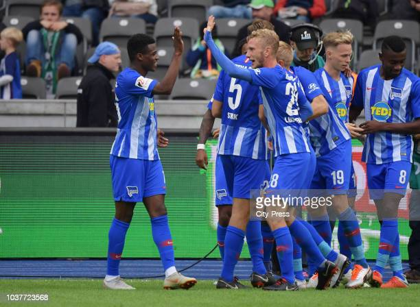 Javairo Dilrosun and Fabian Lustenberger of Hertha BSC celebrate after scoring the 42 during the game between Hertha BSC and Borussia...