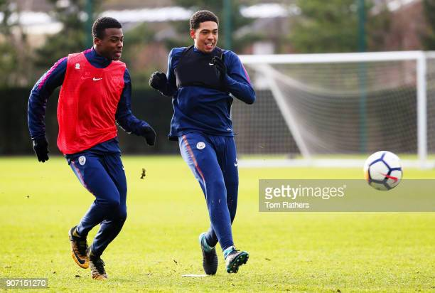 Javairo Dilrosun and Marcus Wood at Manchester City Football Academy on January 18 2018 in Manchester England