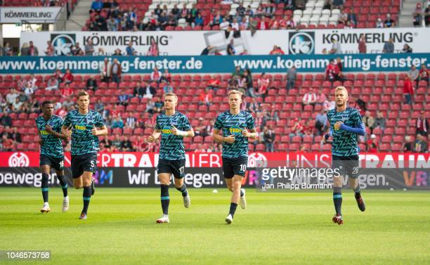 Javairo Dilrosun Niklas Stark Maximilian Mittelstaedt Ondrej Duda and Fabian Lustenberger of Hertha BSC before the Bundesliga match between FSV Mainz...
