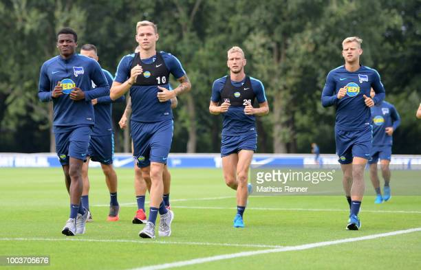 Javairo Dilrosun Ondrej Duda Fabian Lustenberger and Arne Maier of Hertha BSC during the training on july 22 2018 in Berlin Germany