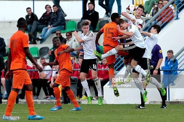 javairo dilrosun shurendo janga of Netherlands challenges jannes vollert salih ozcan marco stefandl of Germany during the UEFA Under16 Tournament...