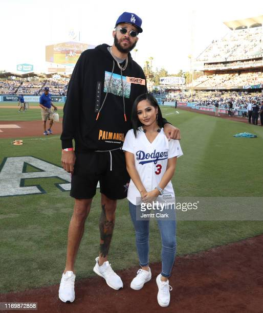JaVale McGee and Becky G attend The Los Angeles Dodgers Game at Dodger Stadium on August 23 2019 in Los Angeles California