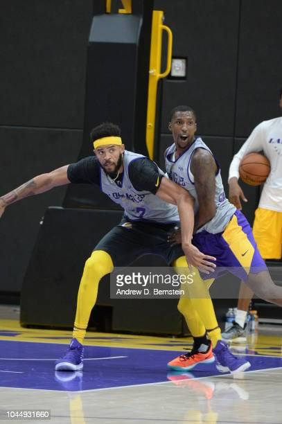 JaVale McGee and Kentavious CaldwellPope of the Los Angeles Lakers play defense at practice at UCLA Health Training Center on September 25 2018 in El...