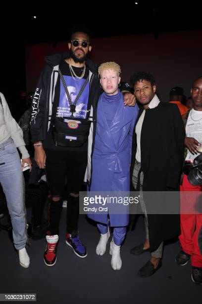 JaVale McGee and Shaun Ross attend the LaQuan Smith fashion show during New York Fashion Week at Pier 59 on September 9 2018 in New York City