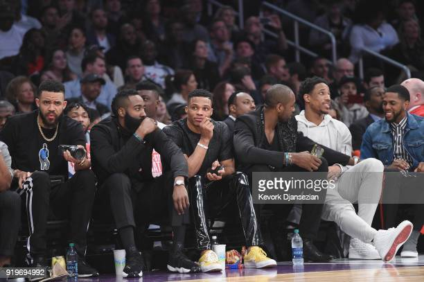 JaVale McGee Brandon Ingram James Harden Russell Westbrook Serge Ibaka and DeMar Derozan attend the 2018 Verizon Slam Dunk Contest at Staples Center...