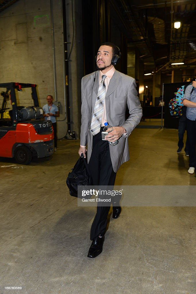 JaVale McGee #34 of the Denver Nuggets arrives before Game Four of the Western Conference Quarterfinals against the Golden State Warriors during the 2013 NBA Playoffs on April 28, 2013 at the Oracle Arena in Oakland, California.