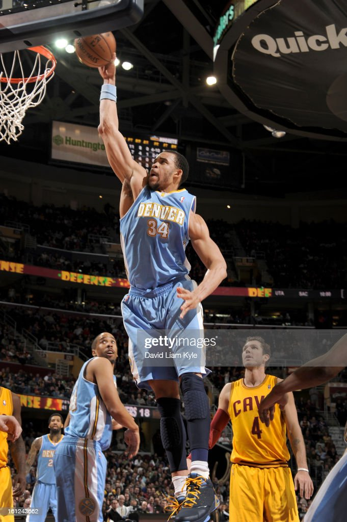 JaVale McGee #34 of the Denver Nuggets goes up for the dunk against the Cleveland Cavaliers at The Quicken Loans Arena on February 9, 2013 in Cleveland, Ohio.