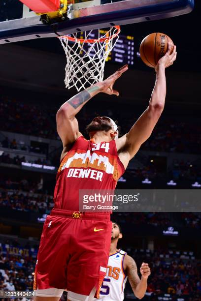 JaVale McGee of the Denver Nuggets shoots the ball against the Phoenix Suns during Round 2, Game 4 of the 2021 NBA Playoffs on June 13, 2021 at the...