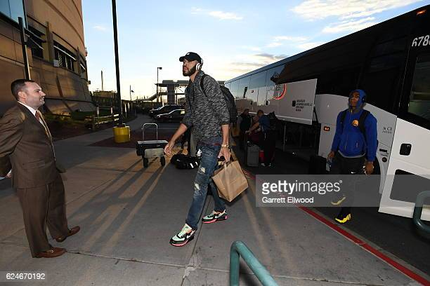 JaVale McGee of the Golden State Warriors arrives at the arena before the game against the Denver Nuggets on November 10 2016 at the Pepsi Center in...