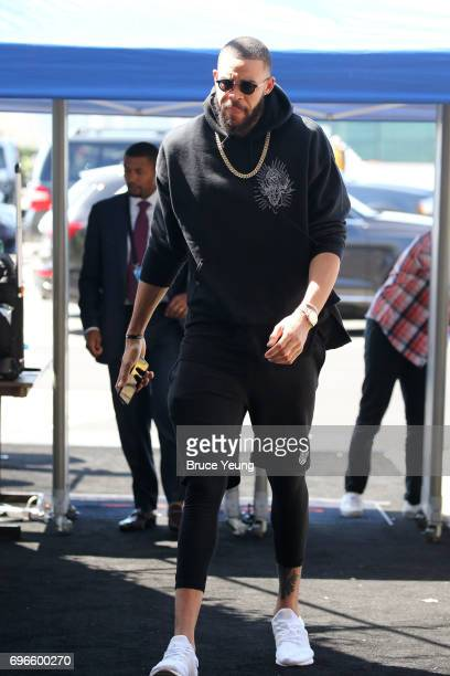 JaVale McGee of the Golden State Warriors arrives at the arena before Game Five of the 2017 NBA Finals against the Cleveland Cavaliers on June 12...