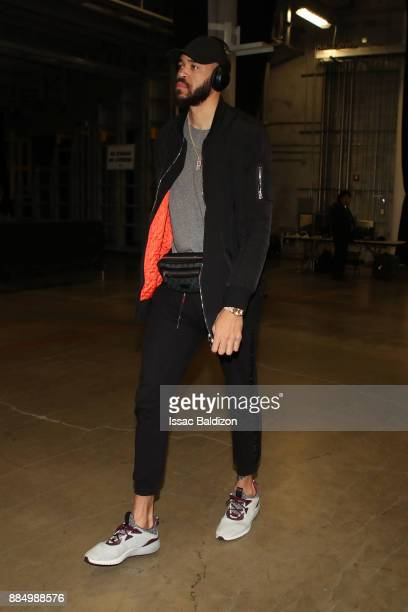 JaVale McGee of the Golden State Warriors arrives at the arena prior to the game against the Miami Heat on December 3 2017 in Miami Florida NOTE TO...