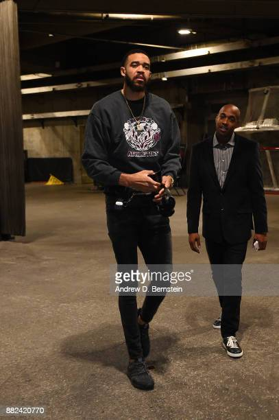 JaVale McGee of the Golden State Warriors arrives before the game against the Los Angeles Lakers on November 29 2017 at STAPLES Center in Los Angeles...