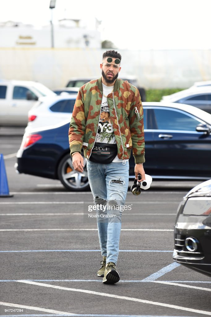 JaVale McGee #1 of the Golden State Warriors arrives before the game against the San Antonio Spurs in Game Two of Round One of the 2018 NBA Playoffs on April 16, 2018 at ORACLE Arena in Oakland, California.