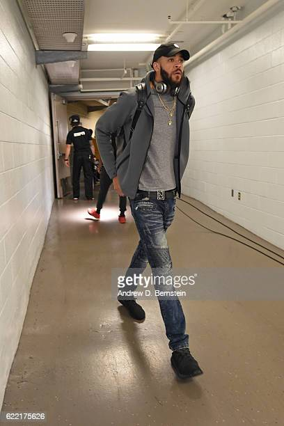 JaVale McGee of the Golden State Warriors arrives prior to a game against the New Orleans Pelicans at Smoothie King Center on October 28 2016 in New...
