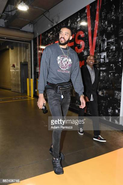 JaVale McGee of the Golden State Warriors arrives to the arena before the game against the Los Angeles Lakers on November 29 2017 at STAPLES Center...