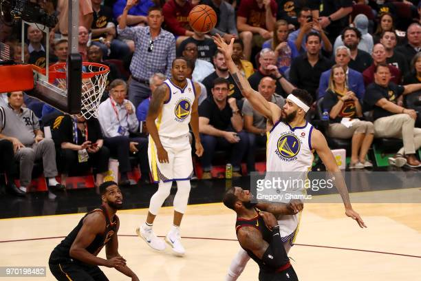 JaVale McGee of the Golden State Warriors attempts a layup against the Cleveland Cavaliers during Game Four of the 2018 NBA Finals at Quicken Loans...