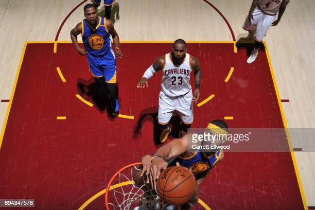 JaVale McGee of the Golden State Warriors attempts to block a shot against the Cleveland Cavaliers in Game Four of the 2017 NBA Finals on June 9 2017...