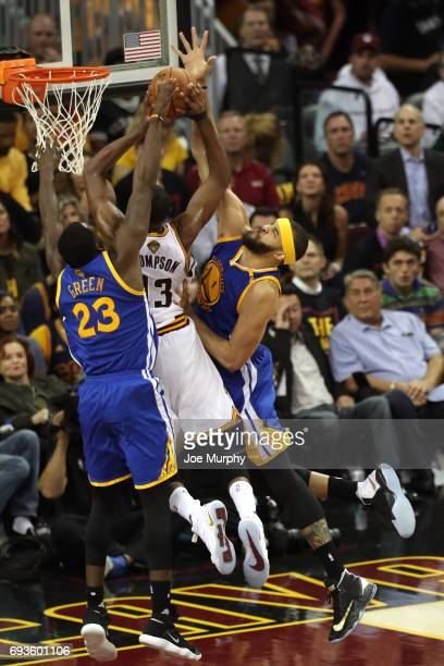 JaVale McGee of the Golden State Warriors blocks against Tristan Thompson of the Cleveland Cavaliers in Game Three of the 2017 NBA Finals on June 7...