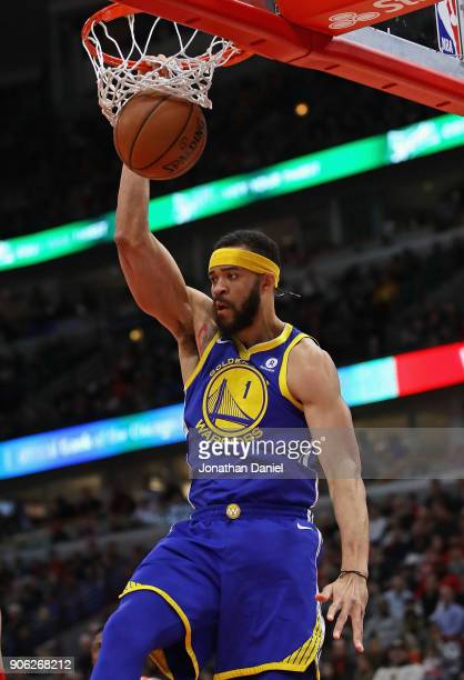 JaVale McGee of the Golden State Warriors dunks against the Chicago Bulls at the United Center on January 17 2018 in Chicago Illinois The Warriors...