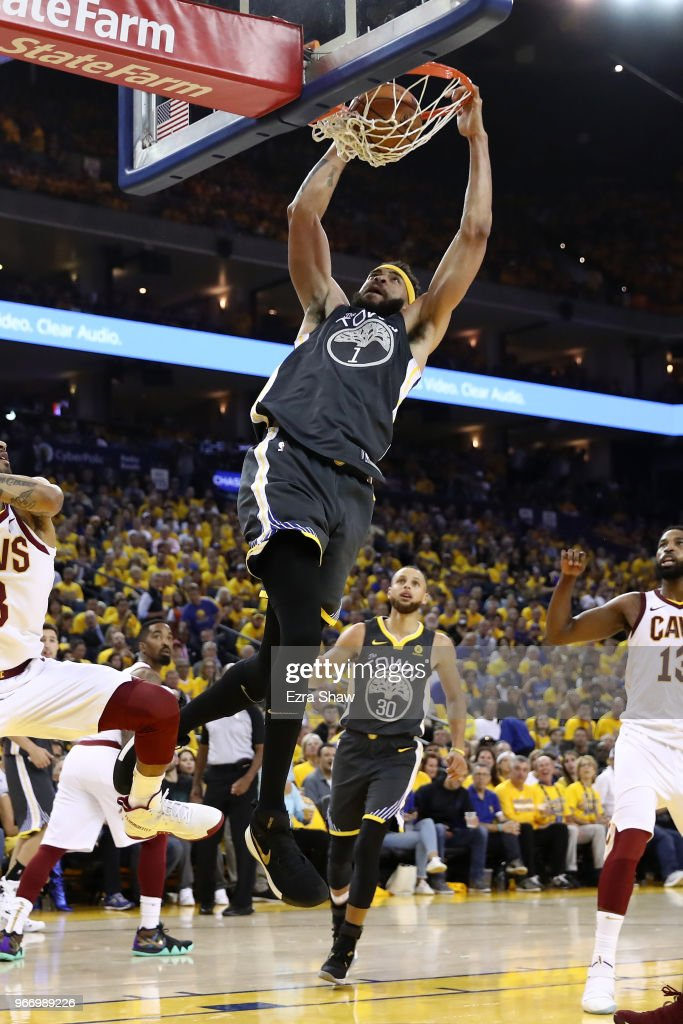 JaVale McGee #1 of the Golden State Warriors dunks against the Cleveland Cavaliers during the third quarter in Game 2 of the 2018 NBA Finals at ORACLE Arena on June 3, 2018 in Oakland, California.