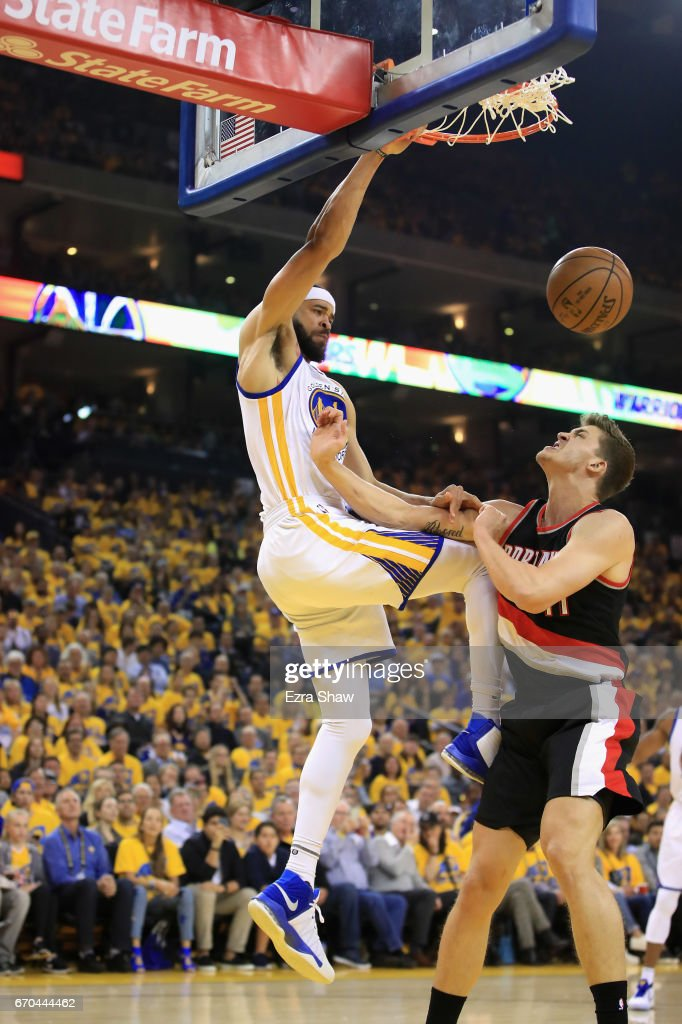 JaVale McGee #1 of the Golden State Warriors dunks on Meyers Leonard #11 of the Portland Trail Blazers in Game Two of the Western Conference Quarterfinals during the 2017 NBA Playoffs at ORACLE Arena on April 19, 2017 in Oakland, California.