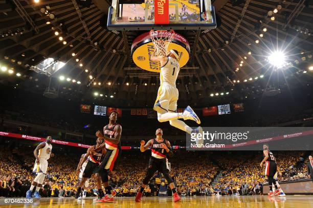 JaVale McGee of the Golden State Warriors dunks the ball during the game against the Portland Trail Blazers during Game Two of the Western Conference...