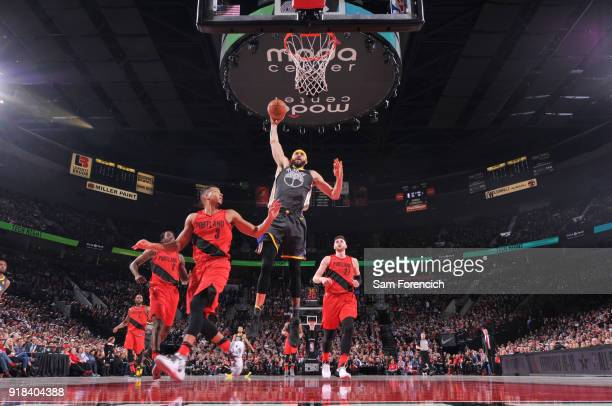 JaVale McGee of the Golden State Warriors dunks the ball during the game against the Portland Trail Blazers on February 14 2018 at the Moda Center in...