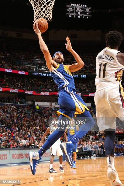 JaVale McGee of the Golden State Warriors goes to the basket against the New Orleans Pelicans on December 4 2017 at Smoothie King Center in New...