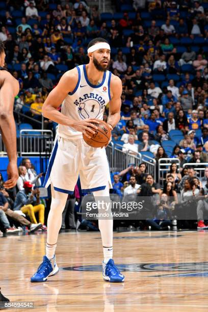 JaVale McGee of the Golden State Warriors handles the ball against the Orlando Magic on December 1 2017 at Amway Center in Orlando Florida NOTE TO...