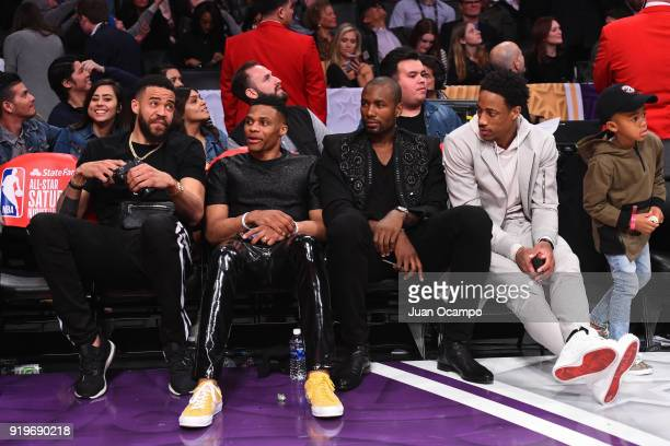 JaVale McGee of the Golden State Warriors Russell Westbrook of the Oklahoma City Thunder Serge Ibaka of the Toronto Raptors and DeMar DeRozan of the...