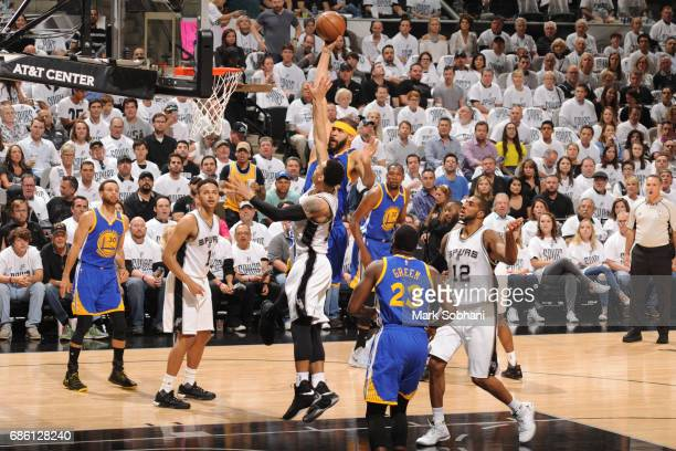 JaVale McGee of the Golden State Warriors shoots the ball against the San Antonio Spurs in Game Three of the Western Conference Finals of the 2017...