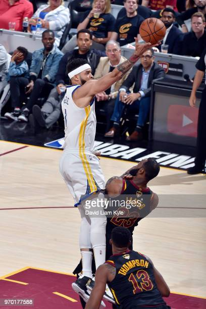 OH JaVale McGee of the Golden State Warriors shoots the ball during the game against LeBron James of the Cleveland Cavaliers in Game Four of the 2018...