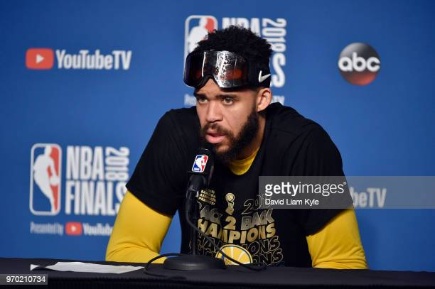 OH JaVale McGee of the Golden State Warriors speaks to the media after defeating the Cleveland Cavaliers in Game Four of the 2018 NBA Finals on June...