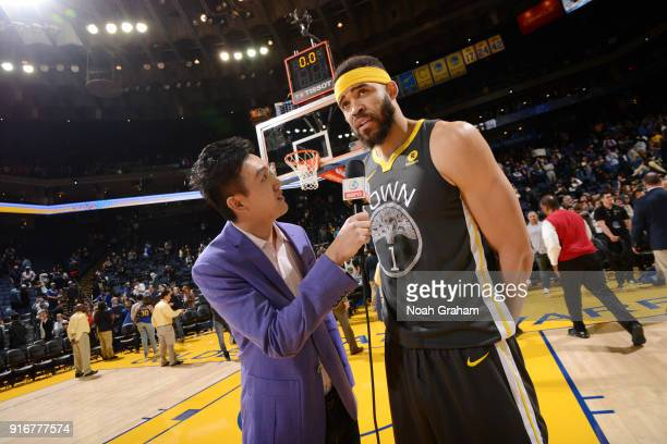 JaVale McGee of the Golden State Warriors talks with media after the game against the San Antonio Spurs on February 10 2018 at ORACLE Arena in...