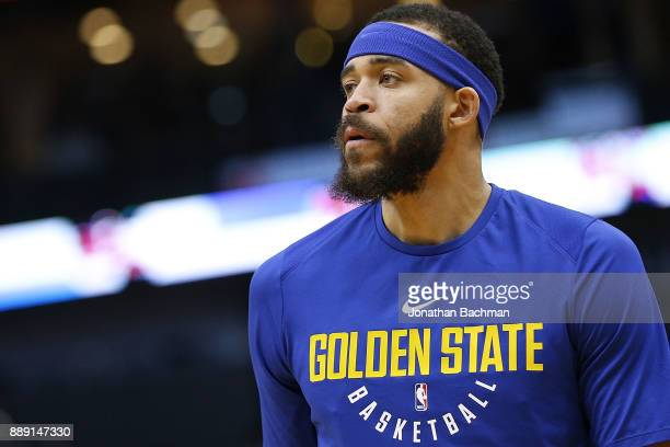 JaVale McGee of the Golden State Warriors warms up before a game against the New Orleans Pelicans at the Smoothie King Center on December 4 2017 in...