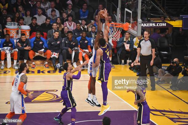 JaVale McGee of the Los Angeles Lakers blocks Jerami Grant of the Oklahoma City Thunder as he drives to the basket during the game on January 2 2019...