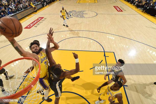 JaVale McGee of the Los Angeles Lakers drives to the basket against the Golden State Warriors on February 2 2019 at the Pepsi Center in Denver...