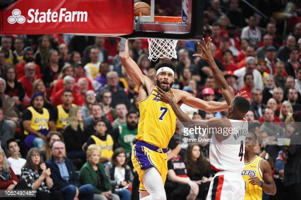 JaVale McGee of the Los Angeles Lakers dunks against Maurice Harkless of the Portland Trail Blazers in the second quarter of their game at Moda...