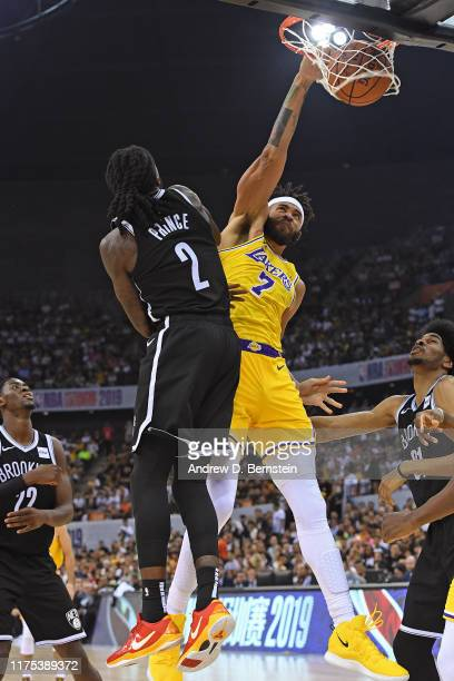 JaVale McGee of the Los Angeles Lakers dunks the ball against the Brooklyn Nets during a preseason game as part of 2019 NBA Global Games China on...